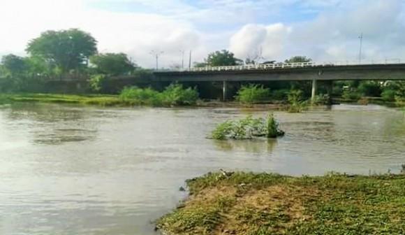 Nível do Rio Colônia, em Itapé, tem leve melhora com chuvas no sudoeste (Foto WhatsApp).