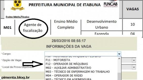 Embora previsto no edital (confira no círculo), o cargo não aparece como opção de inscrição (Reprodução Pimenta).