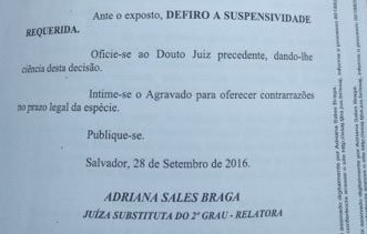 Parte da decisão da juíza Adria