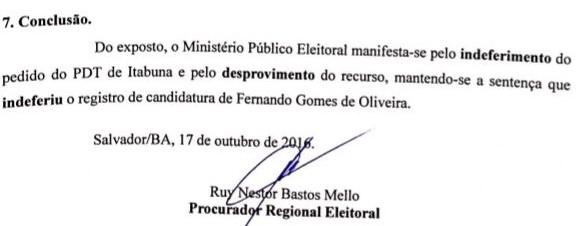 Procuradoria eleitoral se manifesta contra PDT e por indeferimento de Fernando.