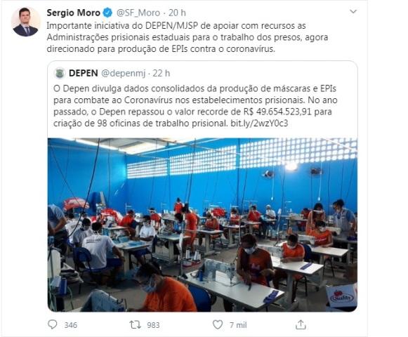 MORO DIVULGA FOTO DA PRODUÇÃO DE MÁSCARAS NO CONJUNTO PENAL DE ITABUNA