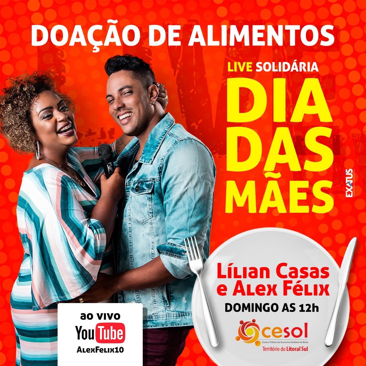 LÍLIAN CASAS E ALEX FÉLIX FAZEM LIVE SOLIDÁRIA NO DIA DAS MÃES