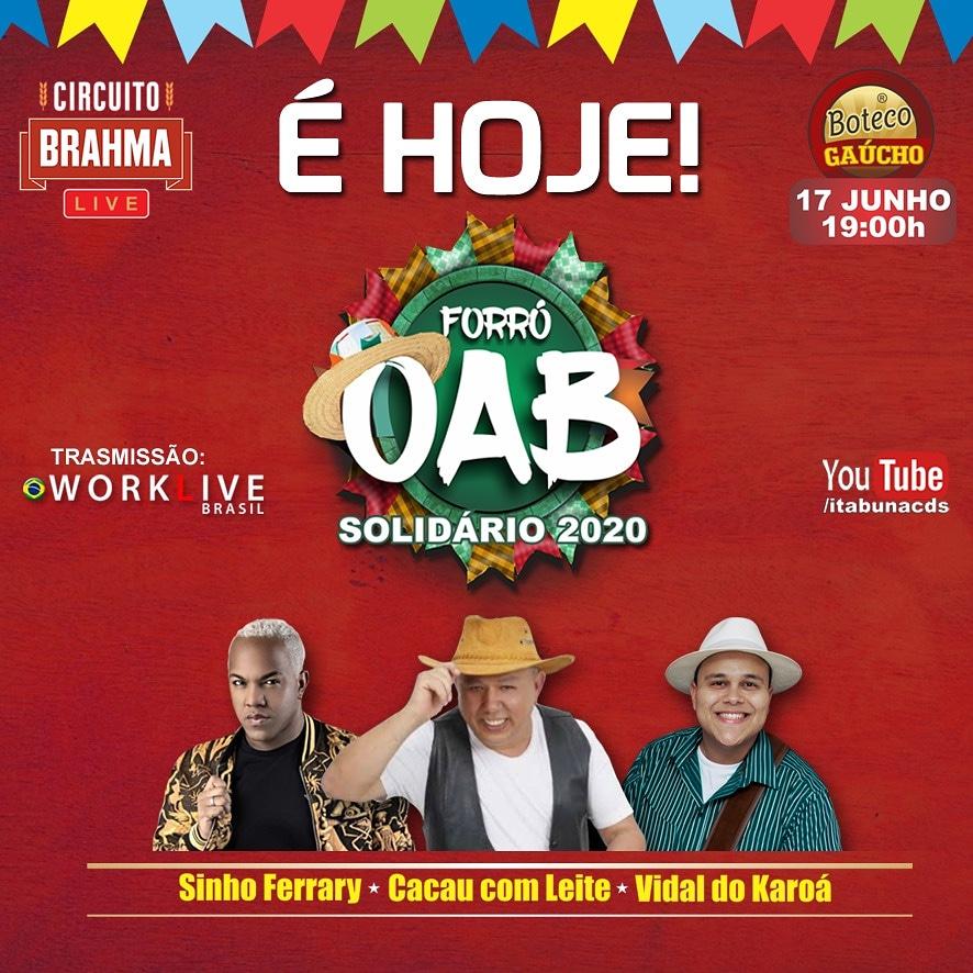 OAB ITABUNA PROMOVE LIVE SOLIDÁRIA COM SINHO FERRARY, CACAU COM LEITE E VIDAL