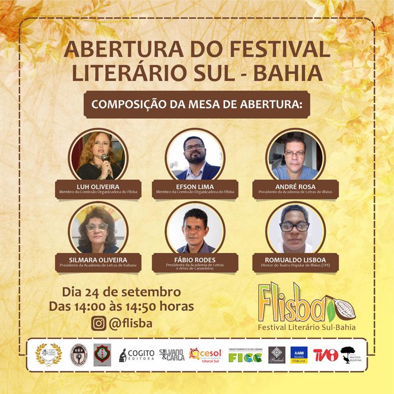 SUL DA BAHIA PROMOVE FESTIVAL LITERÁRIO COM PROGRAMAÇÃO ONLINE