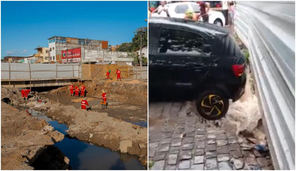 VÍDEO: CHÃO CEDE, E CARRO FICA COM RODAS TRASEIRAS SUSPENSAS NO MALHADO
