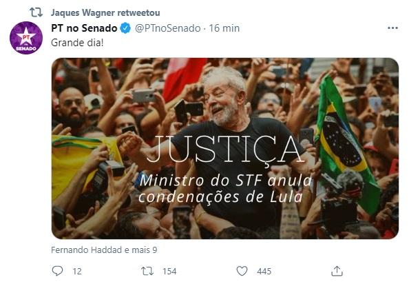 """WAGNER DIZ QUE DECISÃO DO STF FAVORÁVEL A LULA É """"JUSTIÇA REPOSTA"""""""